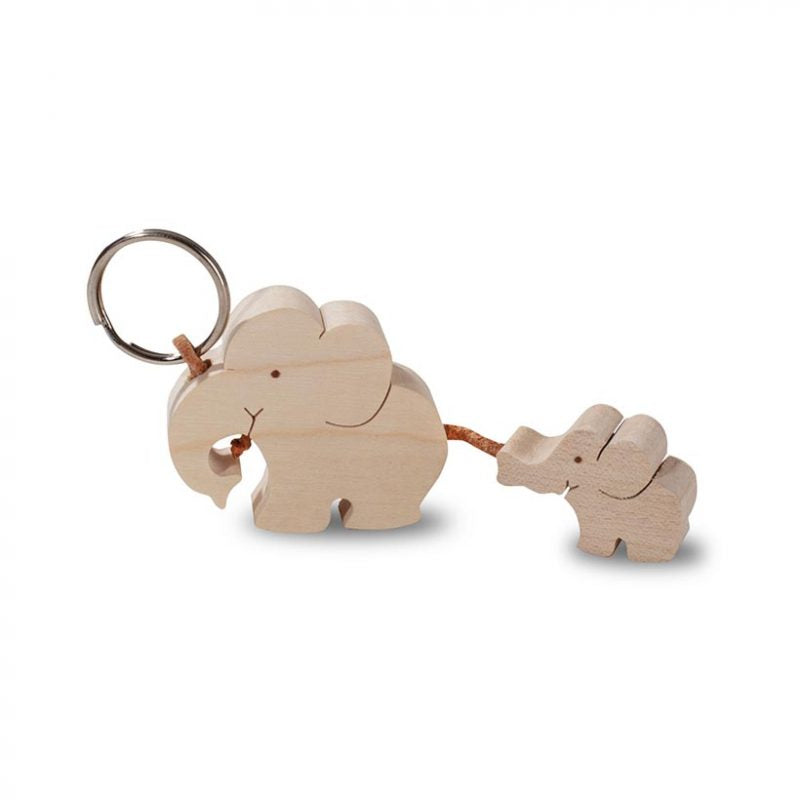Wooden Keyring – Elephant With Baby