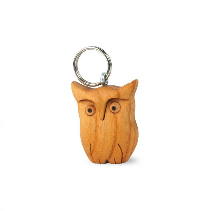 Polished Wooden Keyring – Owl