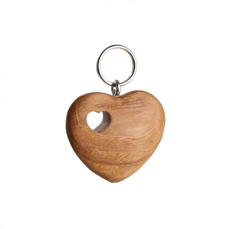 Wooden Keyring – Polished Heart With Heart Cut-Out