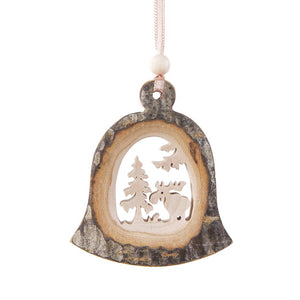 Bark Bell-Shape With Reindeer Hanging