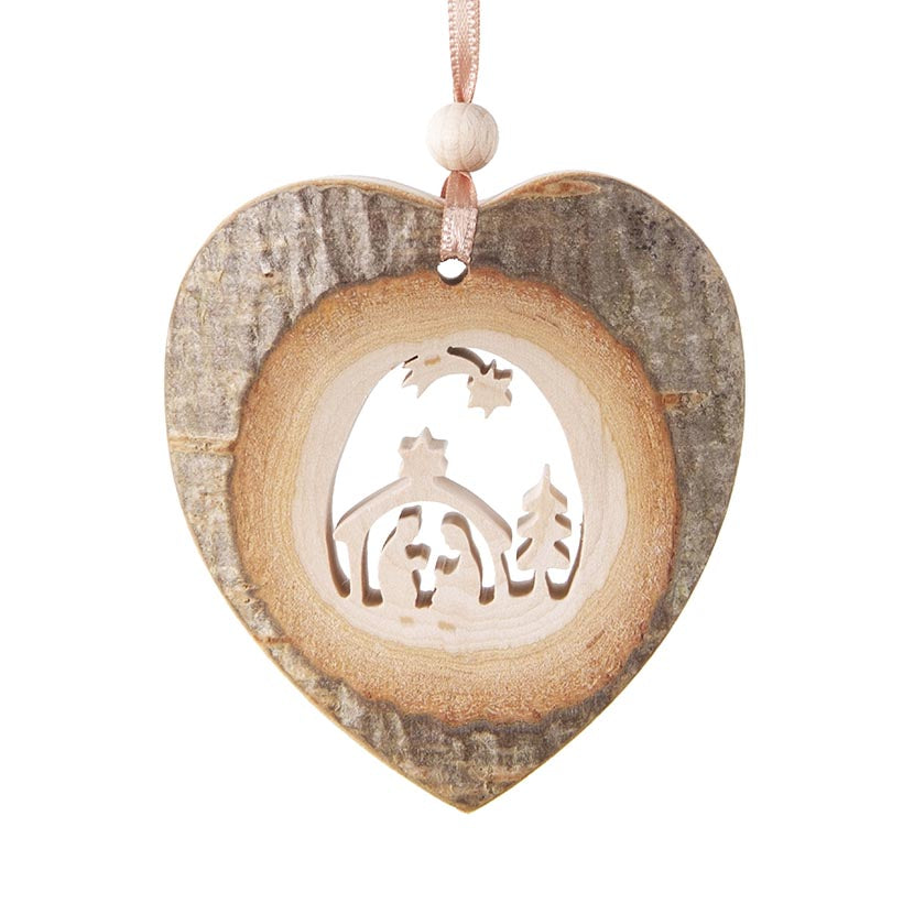 Bark Heart-Shape With Nativity Hanging