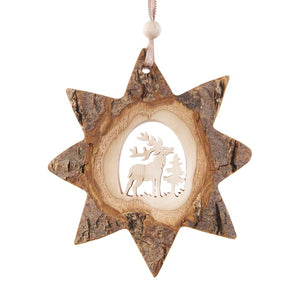 Bark Star-Shape With Deer Scene