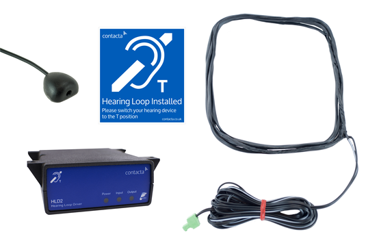 Contacta Under The Counter Loop System, including HLD2 loop amplifier, Gooseneck Halo microphone, loop aerial, power supply, fixings set and loop signage