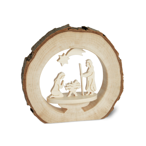 Round Bark Scene with Nativity