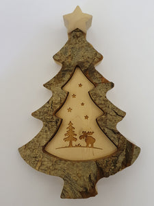 Bark Tree With Engraving Of Moose in the Forest Under the Stars