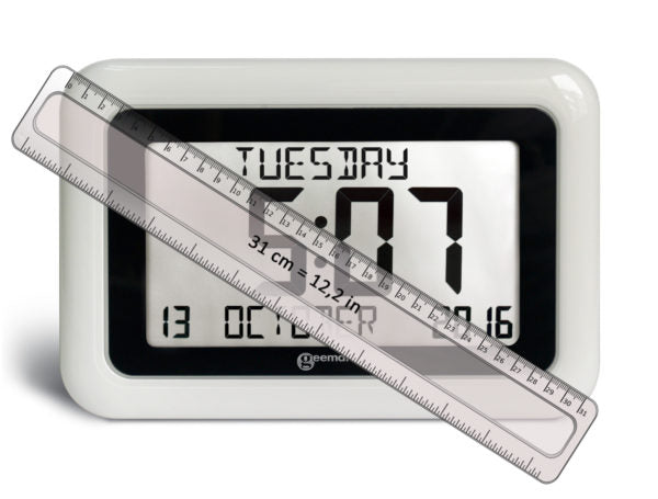 Front view of the Viso10 alarm clock with a ruler showing a diagonal dimension of 31 cm