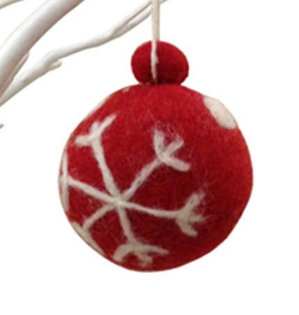 Felt Hanging Red Bauble With White Snowflake
