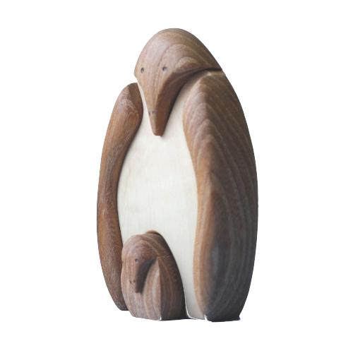 Polshed Wooden Penguin With Baby Penguin