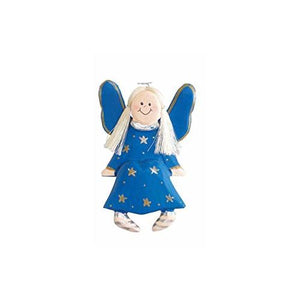 Wooden Sitting Angel In Blue