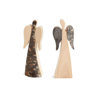 Wooden Two-Sided Angel With Bark