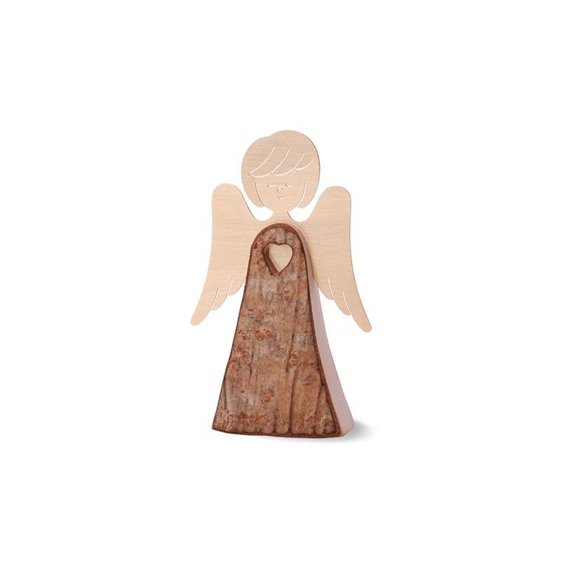 Wooden Bark Angel With Golden Wings