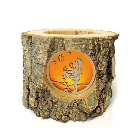 Bark Tealight Holder With A Girl Catching Stars Insert