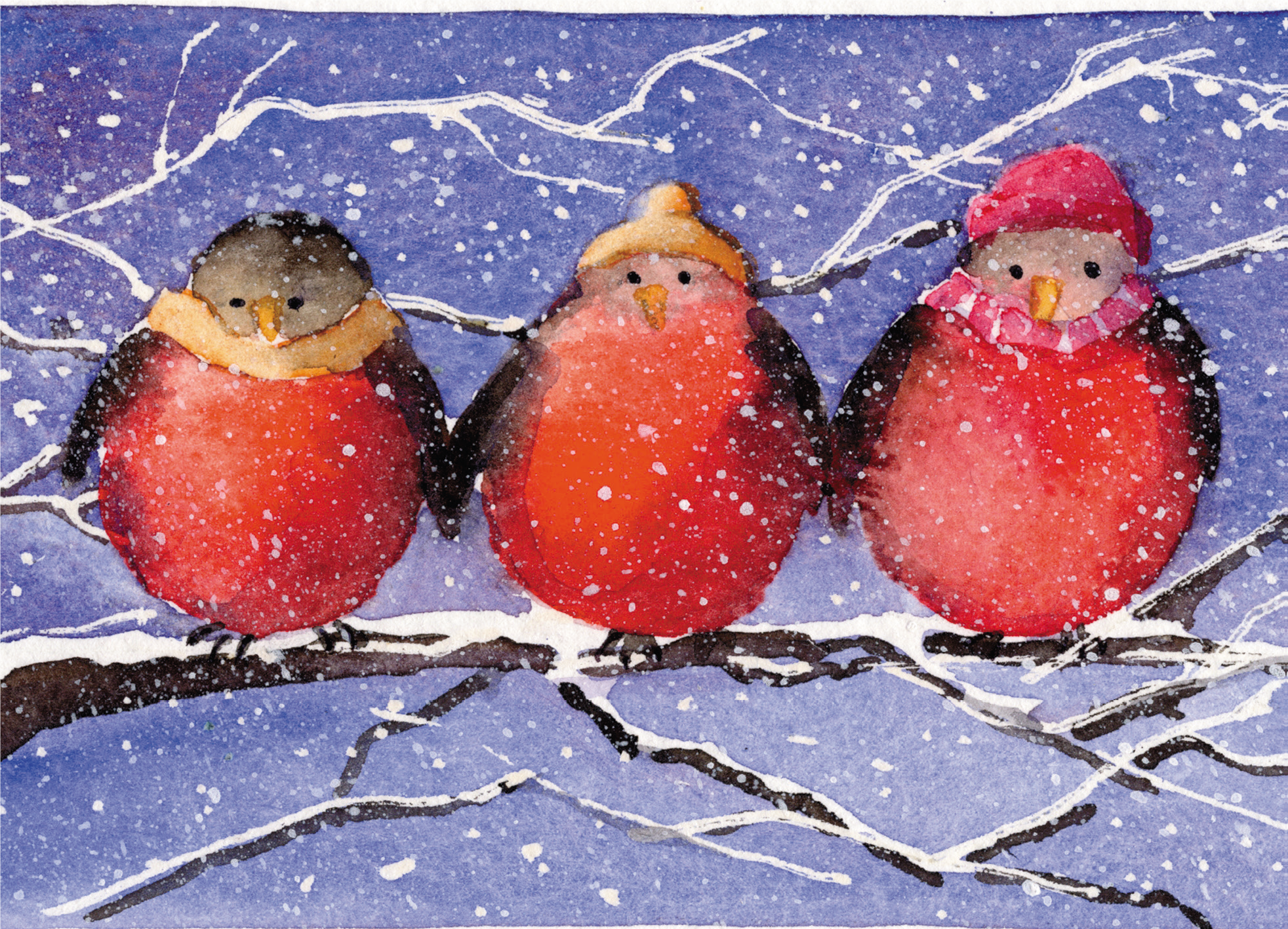 Christmas Card: Three Christmas Robins