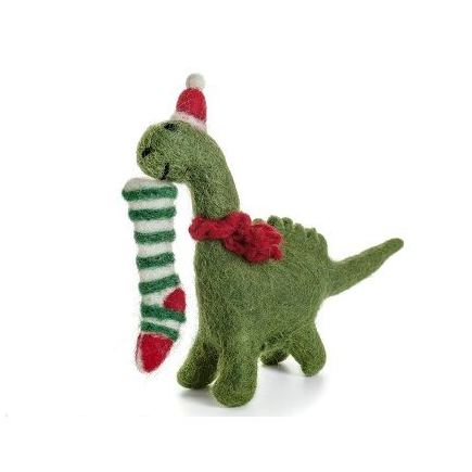 Felt Diplodocus Holding Stocking