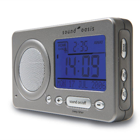 Sound Oasis Travel Sound Therapy System With Alarm Clock (S850) angled front view with blue illuminated display