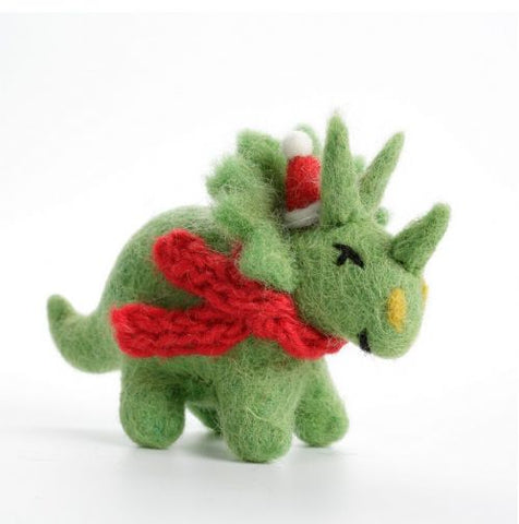 Felt Triceratops with Hat and Scarf