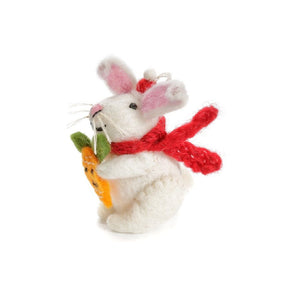 Felt White Rabbit Holding Carrot