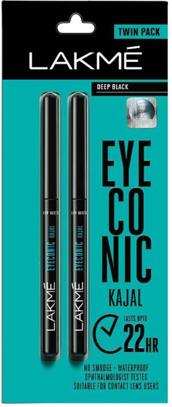 Lakme Eyeconic Kajal Twin Pack  (Deep Black, 0.7 g)