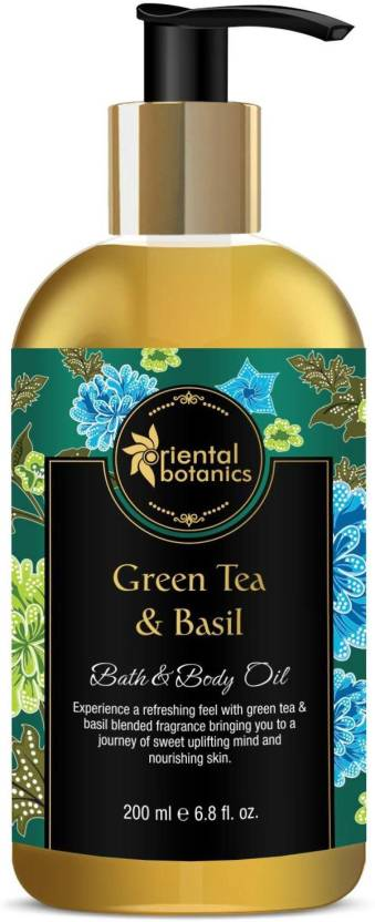 Oriental Botanics Bath & Body Oil (Green Tea & Basil)  (200 ml)