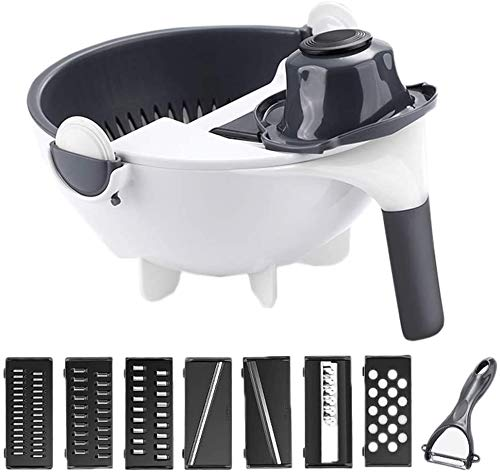 Vegetable Chopper,MHstar Multifunctional Vegetable Fruit Slicer Cutter Kitchen Colander/Strainer Bowl Set, Manual Vegetable Grater for Carrot, Potato, Tomato, Fruit (White)