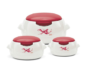 Milton Microwow One Touch Insulated Inner Steel Casserole Jr Set of 3, Red