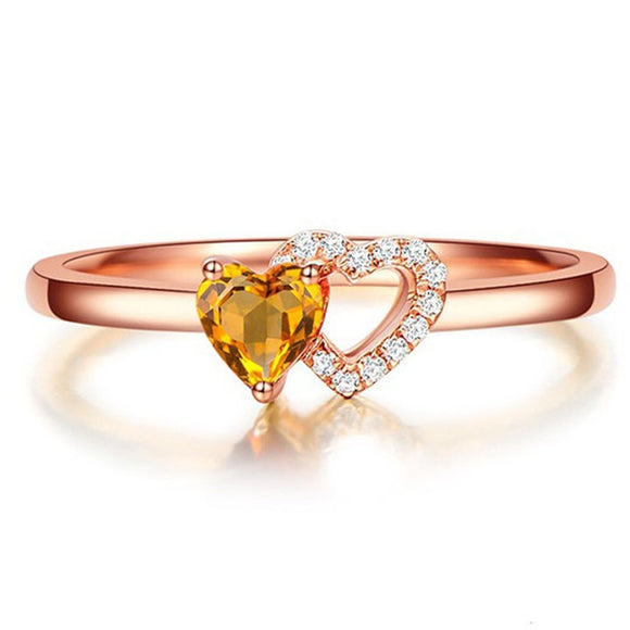 Gorgeous Twisted Valentine Heart Crystal Stone Gold Plated Ring for Women - 8