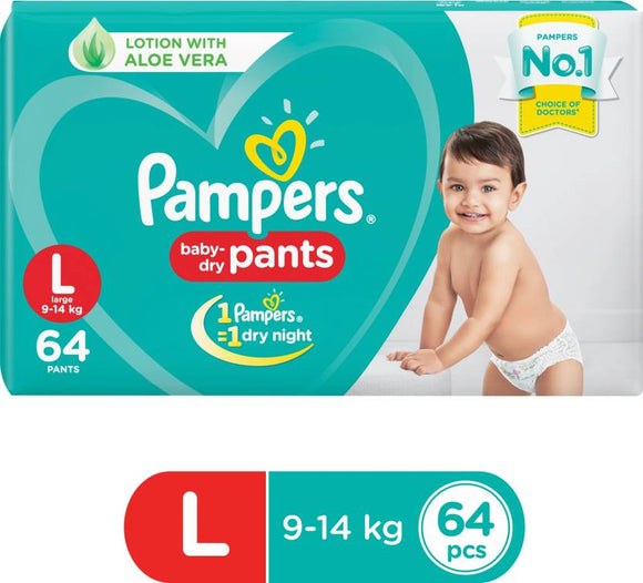 Pampers Baby-Dry Pants Diaper - L  (64 Pieces)