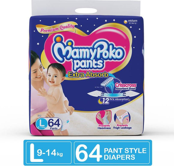 MamyPoko Pants Extra Absorb Diapers - L  (64 Pieces)