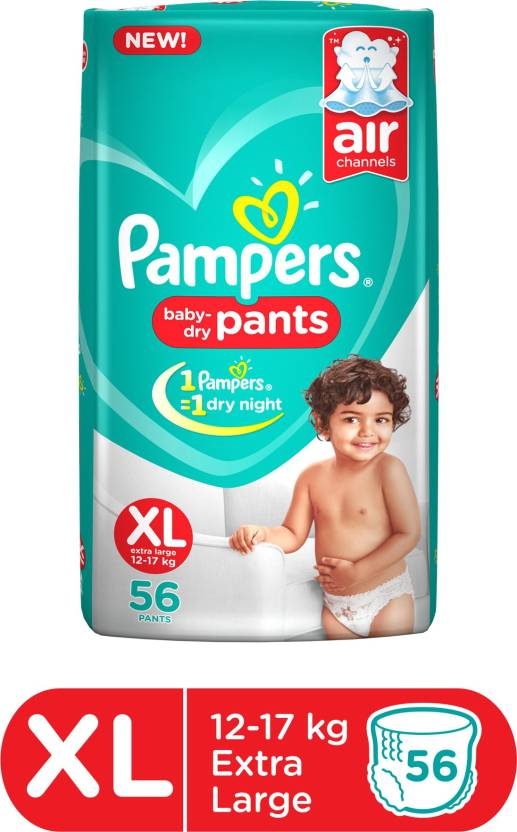 Pampers Baby-Dry Pants Diaper - XL  (56 Pieces)