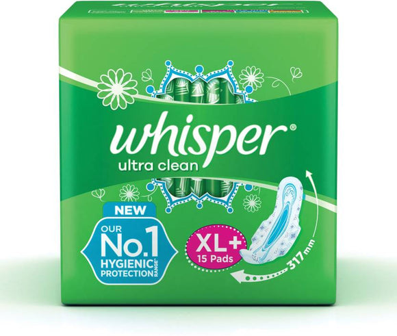 Whisper Ultra Clean XL Plus Wings Sanitary Pad  (Pack of 15)
