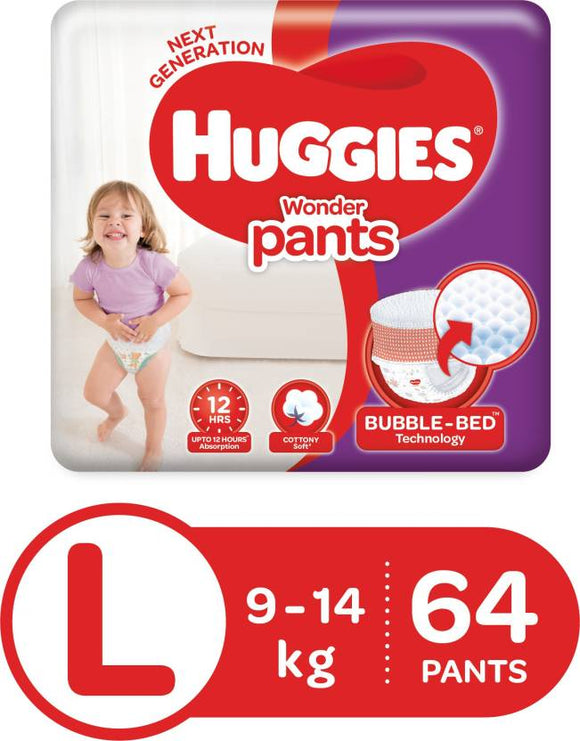 Huggies Wonder Pants Diaper - L  (64 Pieces)