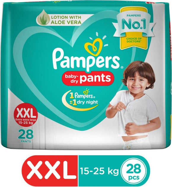 Pampers New Extra Large Size Diapers Pants (28 Count) - XXL  (28 Pieces)