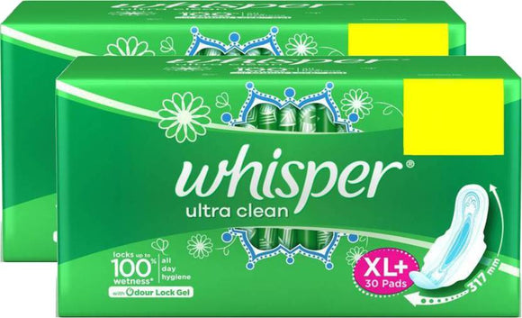 Whisper Ultra Clean XL Plus Wings Sanitary Pad  (Pack of 60)