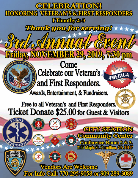 3rd Annual Veteran's & First Responders event 2019