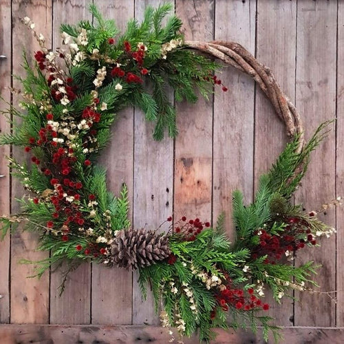 Traditional Dried Christmas Wreath - Assymetrical