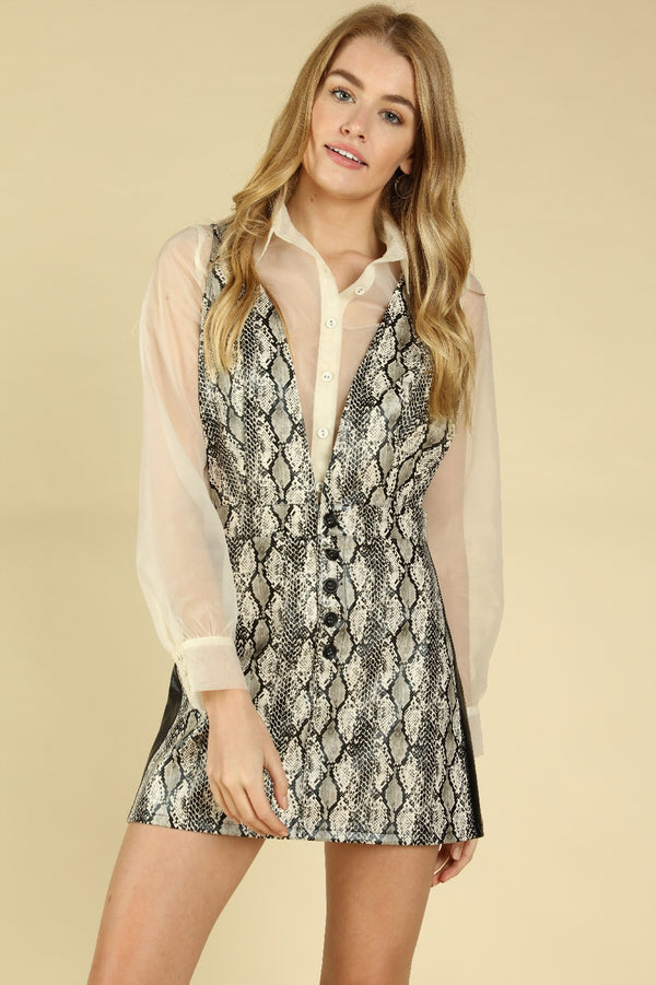 Snake Print Pinafore Dress