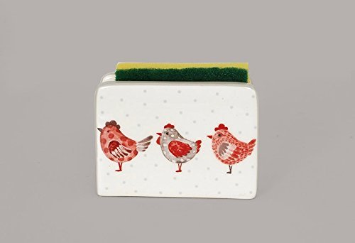 Ceramic Scrubbie Sponge Holder - 3 Hens