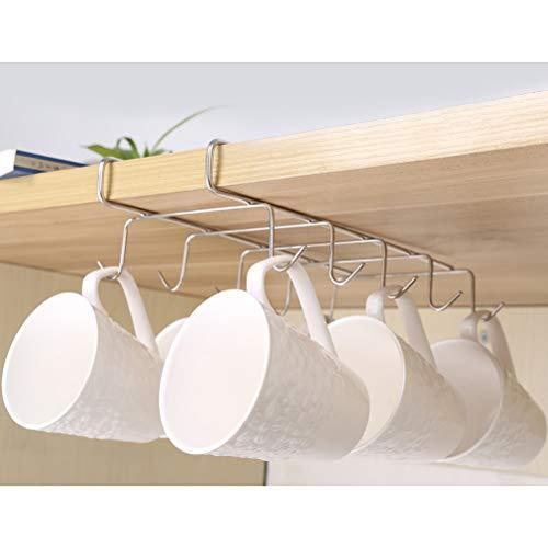 On amazon wellobox coffee mug holder under cabinet cup hanger rack stainless steel hooks cup rack under shelf for bar kitchen storage fit for the cabinet