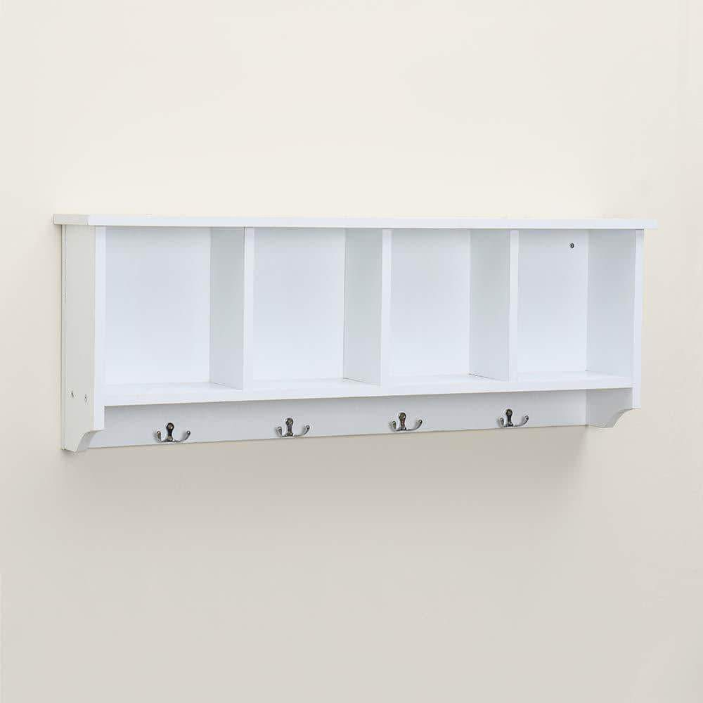 Best seller  love furniture floating shelf coat rack wall mounted cabinets hanging entryway shelf w 4 hooks storage cubbies organizer white