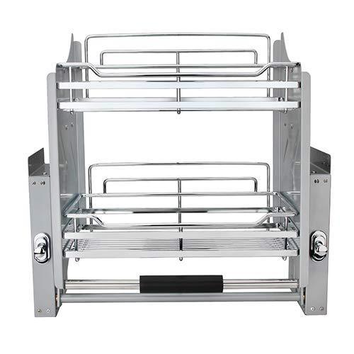 Amazon pull down two tier shelf shelves cabinet for 600mm width cupboards steel wall unit storage organizer system kitchen