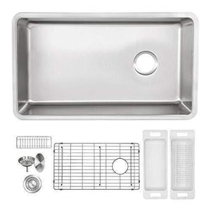 Heavy duty zuhne 32 inch under mount single bowl 16 gauge stainless steel kitchen sink with offset drain tight corners fits 36 inch cabinet