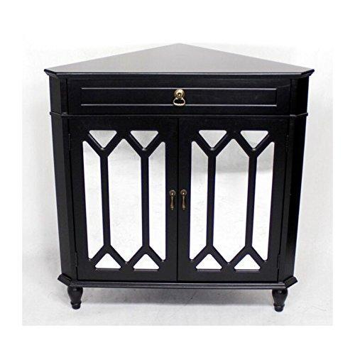 Discover heather ann creations the dorset collection contemporary style wooden double door floor storage living room corner cabinet with hexagonal mirror inserts and 1 drawer black