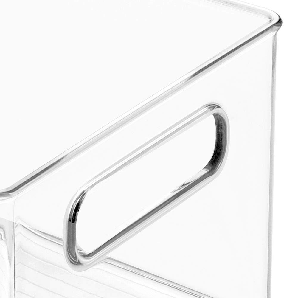 Cheap mdesign deep plastic kitchen storage organizer container bin with handles for pantry cabinets shelves refrigerator freezer bpa free 14 5 long 8 pack clear