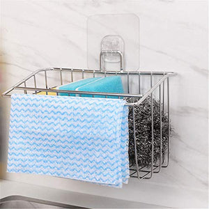 WEZVIX Sink Sponge Holder Stainless Steel Sink Caddy with Adhesive Pad Dish Cloth Hanger Brush Soap Dishwashing Liquid Drainer Rack for kitchen sink Drainer Rack in Sink