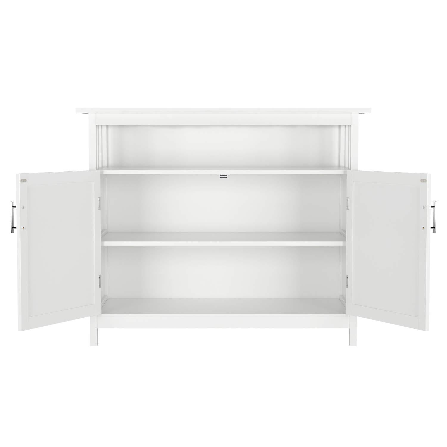 Storage homfa kitchen sideboard storage cabinet large dining buffet server cupboard cabinet console table with display shelf and double doors white