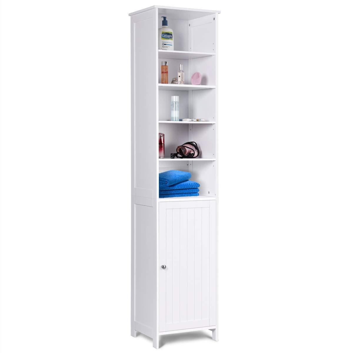 Online shopping 72 tall cabinet waterjoy standing tall storage cabinet wooden white bathroom cupboard with door and 5 adjustable shelves elegant and space saving