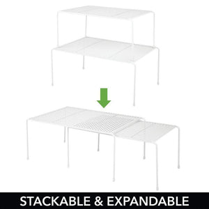 Heavy duty mdesign adjustable metal kitchen cabinet pantry countertop organizer storage shelves expandable 8 piece set durable steel non skid feet white