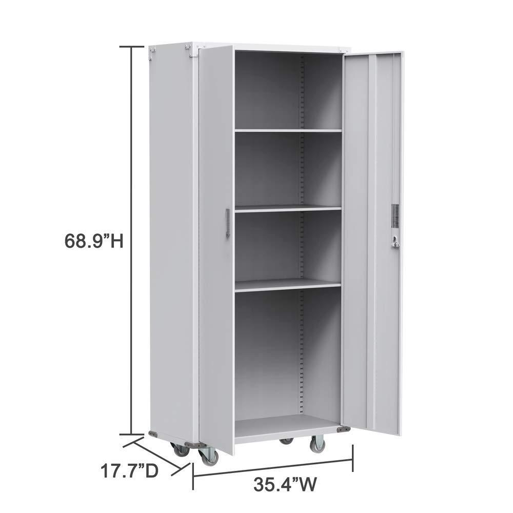 Amazon best bonnlo 74 tall steel storage cabinet rolling metal storage locker with adjustable shelves and door for garage office kitchen laundry room