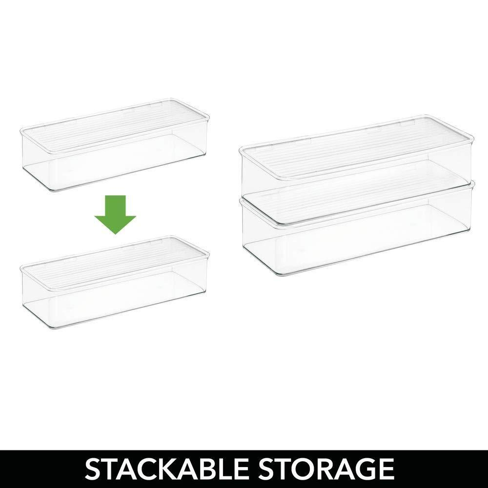 Amazon mdesign stackable kitchen pantry cabinet refrigerator food storage container bin attached lid organizer for packets snacks produce pasta bpa free food safe 8 pack clear