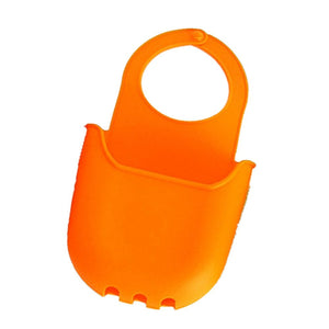 FashionMall Hanging Sponge Holder, Sink Silicone Storage Box for Kitchen, Bathroom and Household use (Bright Orange)